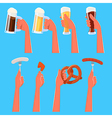 Set of Hands Holding Beer and Snacks vector image