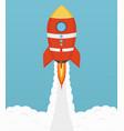 startup cosmic rocket design in flat design vector image
