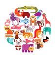 zoo animals round vector image