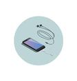 isometric black smartphone with headphone adapter vector image