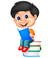 Little boy reading book vector image vector image