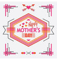 Pink Happy Mothers day line decoration message vector image