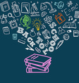 Back to school concept Falling icons to the books vector image