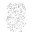Bold black 3d alphabet set vector image