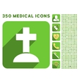 Grave Icon and Medical Longshadow Icon Set vector image