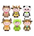 six children in costumes of animals vector image