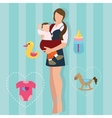 woman mother holding carrying baby carrier child vector image