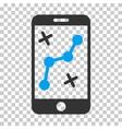 Route Smartphone Icon vector image