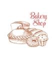 Bakery shop bread sketch poster vector image