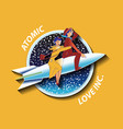 with couple of lovers on the rocket vector image