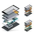 isometric smartphone cutaway vector image