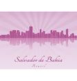Salvador de Bahia skyline in purple radiant orchid vector image vector image