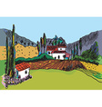 Sketch of the landscape with the farm vector image vector image