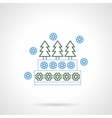 Xmas cake with decorations flat line icon vector image