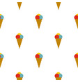 cone with scoops of ice cream pattern seamless vector image