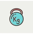 Kettlebell thin line icon vector image