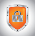 Security shield with lock vector image