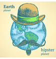 Sketch Earth planet in hipster style vector image