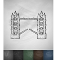 Tower Bridge icon Hand drawn vector image
