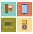 assembly flat icon office phone music player vector image