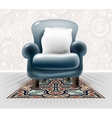 dark blue leather chair with a white pillow in vector image vector image