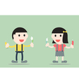 boy and girl are brush the teeth vector image