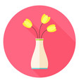 Flat Vase with Tulip Flowers Circle Icon with Long vector image