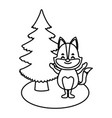 fox with christmas tree cartoon vector image
