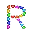 Letter R made of multicolored hearts vector image