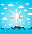 sea ocean waves with paper cut sun on blue sky vector image