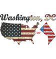 USA state of Washington DC on a brick wall vector image