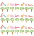 rabbits and carrots on a white background vector image