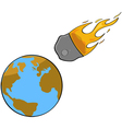 Asteroid collision vector image