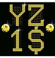 golden digital diamond alphabet new vector image