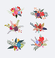 Spring floral clusters flower wreaths bouquets vector image