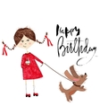 Greeting card for birthday with girl and puppy on vector image