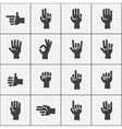 Hands gestures icons set in black and white vector image