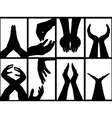 hands silhouette collage vector image