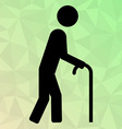 Icon oldman with cane on polygonal background vector image