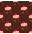Tile cupcake pattern with brown background vector image