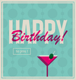 Birthday card cocktail drink vector image vector image