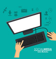 social media computer working vector image
