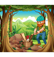 A woodman chopping the woods in the forest near vector image vector image