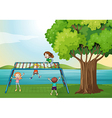 Kids playing near the river vector image vector image