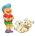 boy and dog laughing vector image vector image