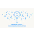 Find right person thin blue line design vector image