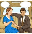 Couple talking in taxi pop art style vector image