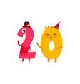 cute animallike character number twenty 20 vector image
