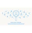 Find right person thin blue line design vector image