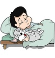 Boy and Dog Sleeping vector image